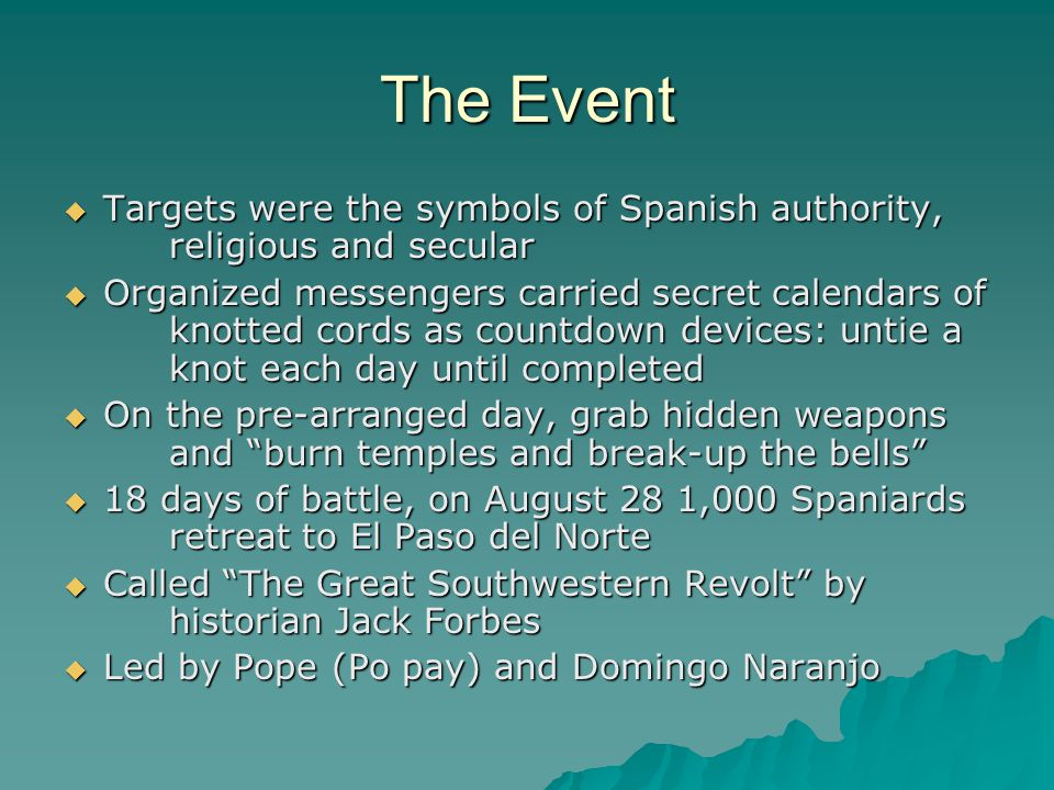 The Event Targets were the symbols of Spanish authority, religious and secular.