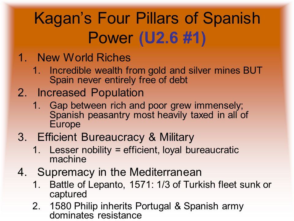 Kagan's Four Pillars of Spanish Power (U2.6 #1)