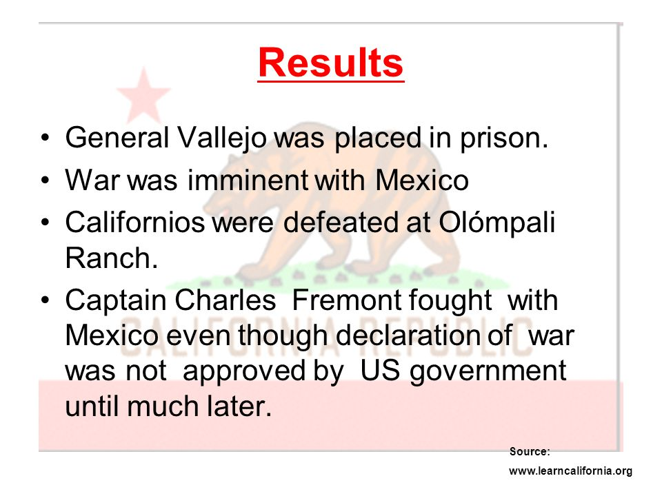 Results General Vallejo was placed in prison.