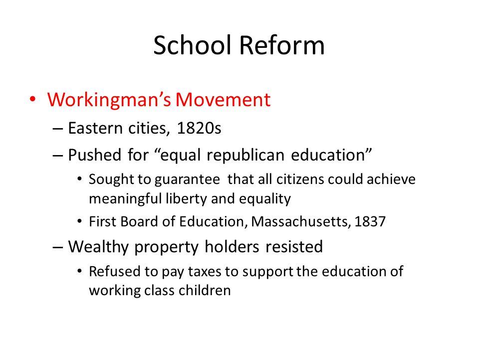 School Reform Workingman's Movement Eastern cities, 1820s