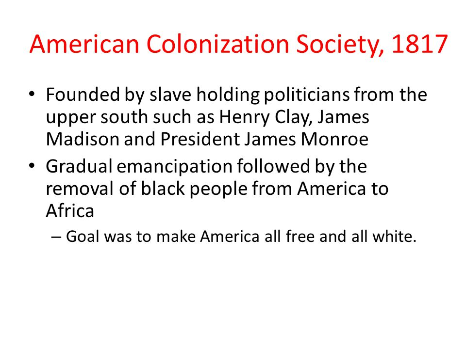 American Colonization Society, 1817