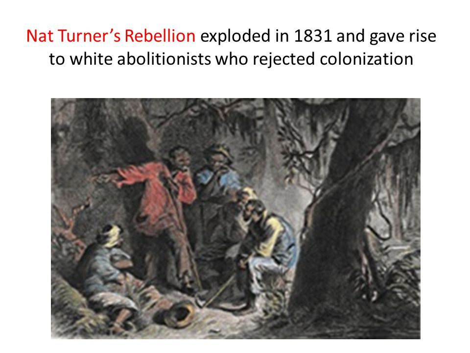 Nat Turner's Rebellion exploded in 1831 and gave rise to white abolitionists who rejected colonization