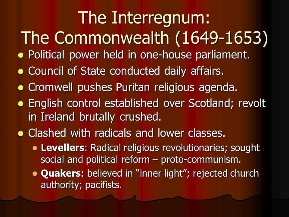 The Interregnum: The Commonwealth (1649-1653)
