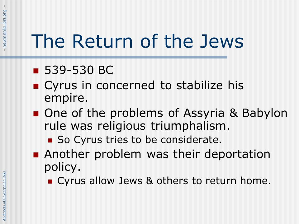 The Return of the Jews 539-530 BC