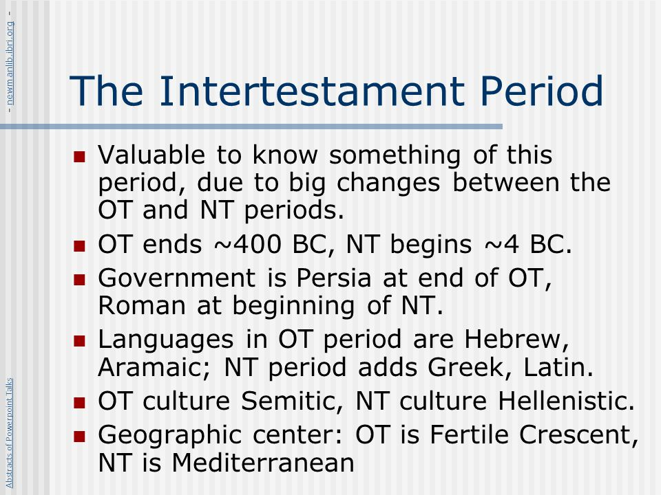 The Intertestament Period