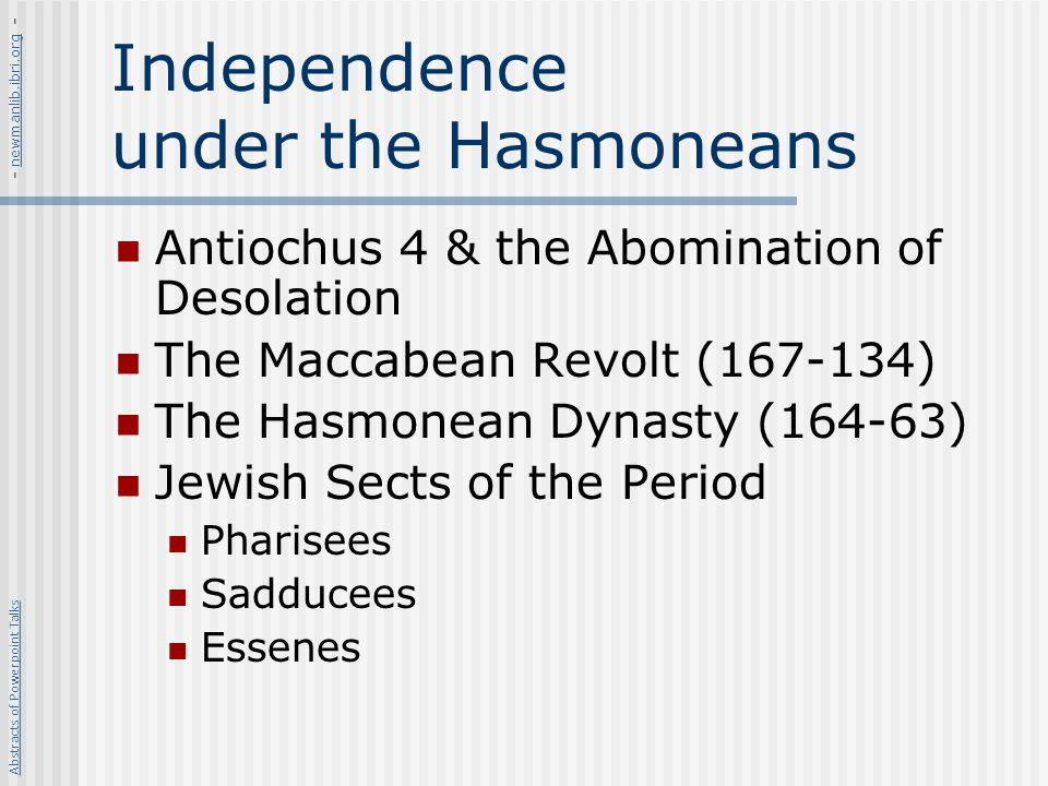 Independence under the Hasmoneans