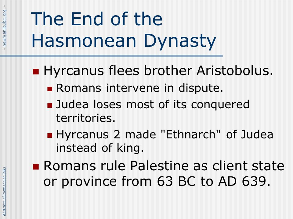 The End of the Hasmonean Dynasty
