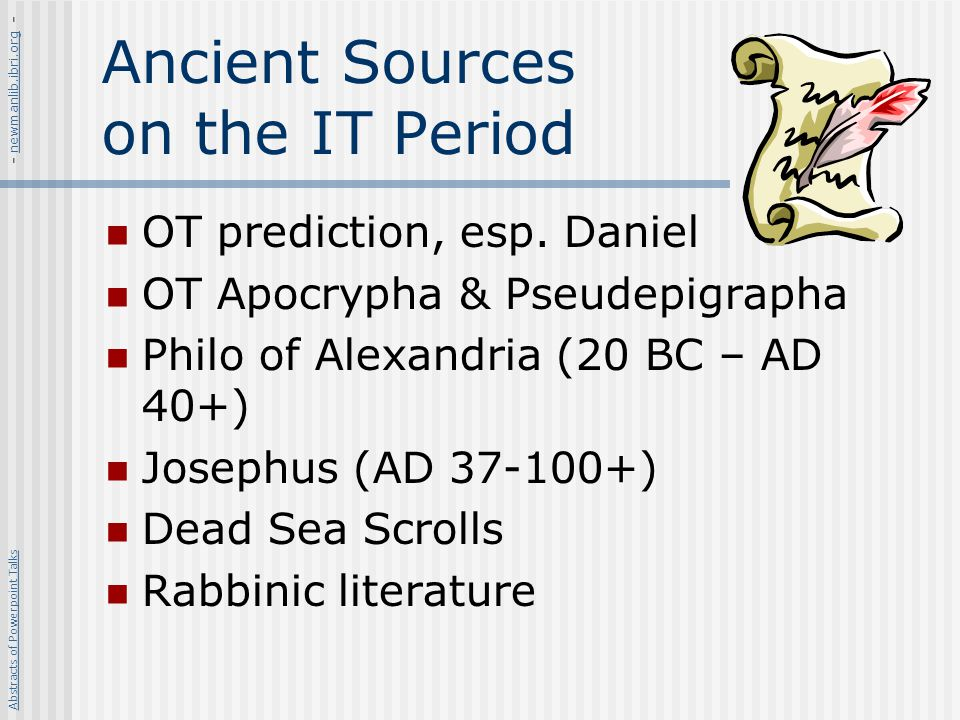 Ancient Sources on the IT Period