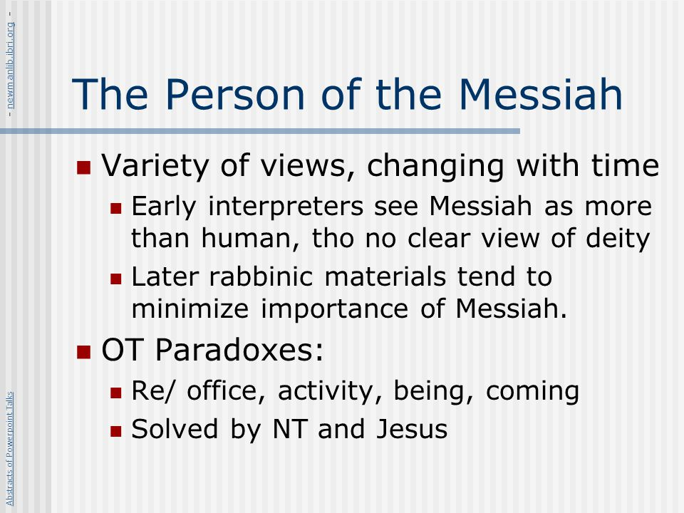 The Person of the Messiah