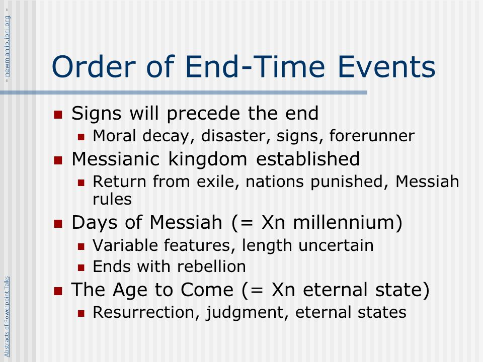 Order of End-Time Events
