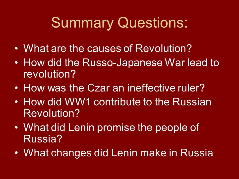Summary Questions: What are the causes of Revolution