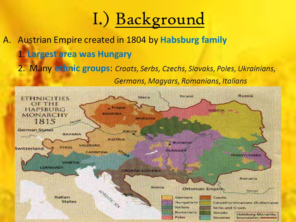 I.) Background Austrian Empire created in 1804 by Habsburg family