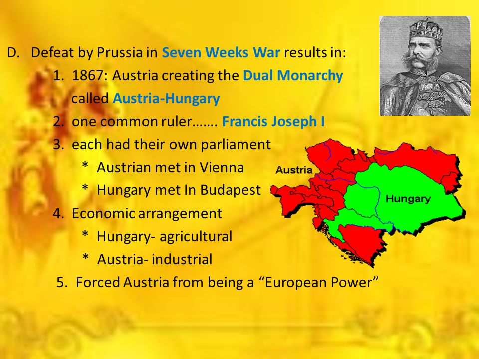 D. Defeat by Prussia in Seven Weeks War results in: 1