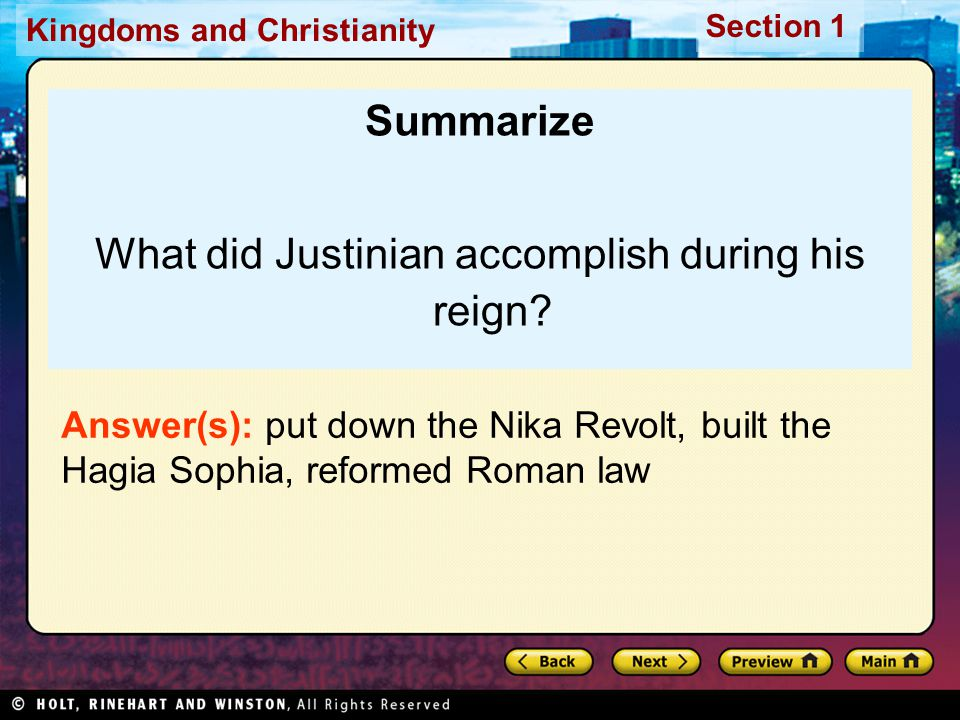 What did Justinian accomplish during his reign