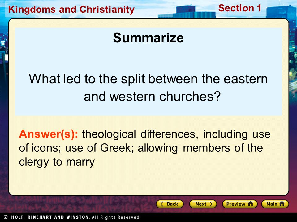 What led to the split between the eastern and western churches