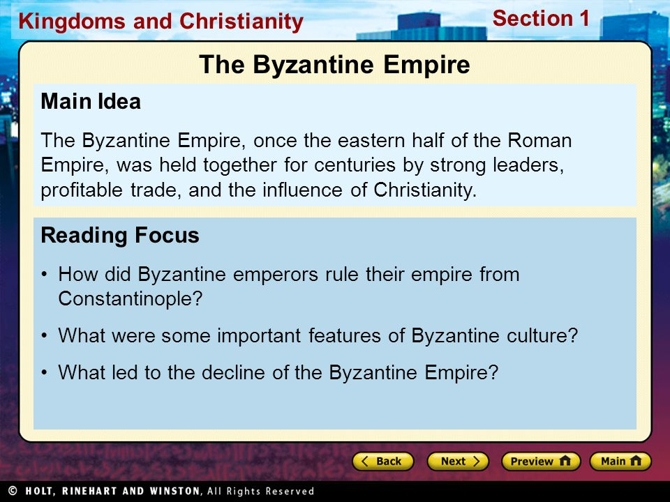 The Byzantine Empire Main Idea Reading Focus