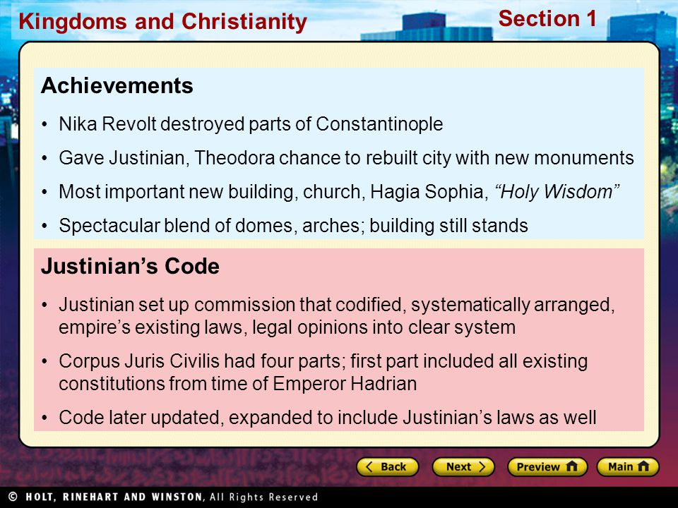 Achievements Justinian's Code