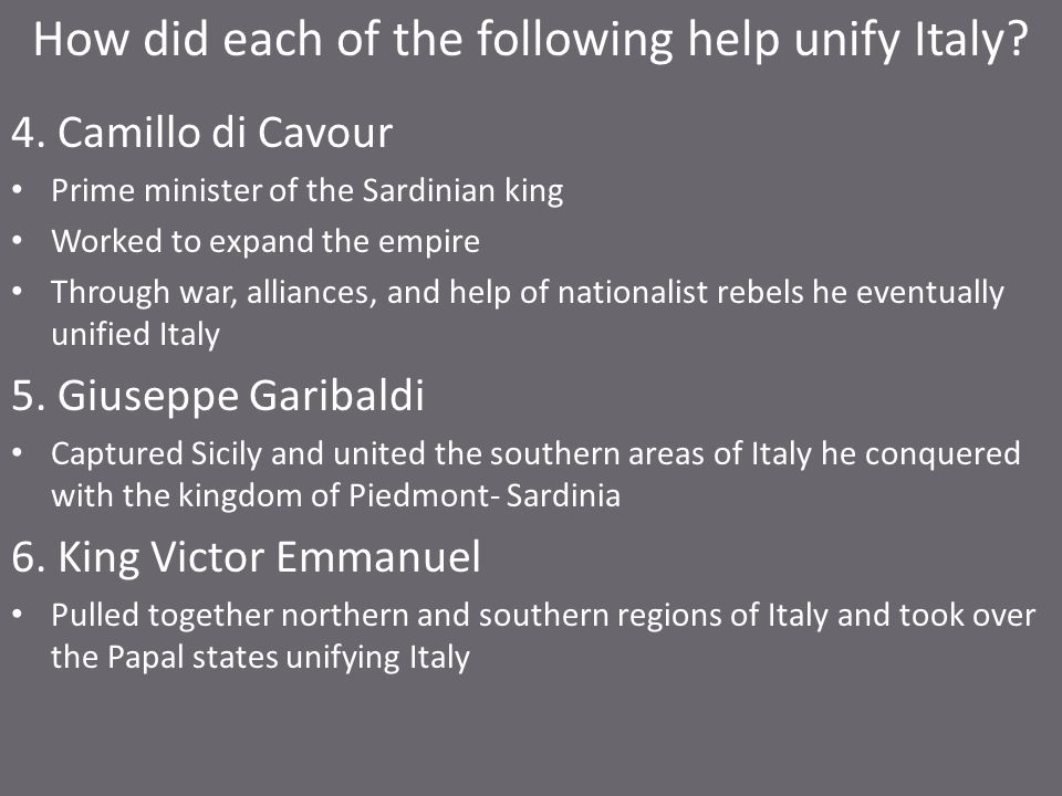 How did each of the following help unify Italy