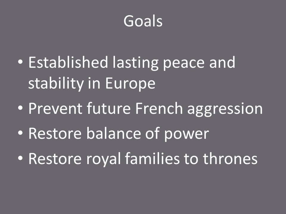 Goals Established lasting peace and stability in Europe. Prevent future French aggression. Restore balance of power.