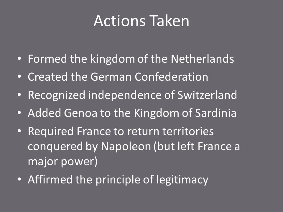 Actions Taken Formed the kingdom of the Netherlands