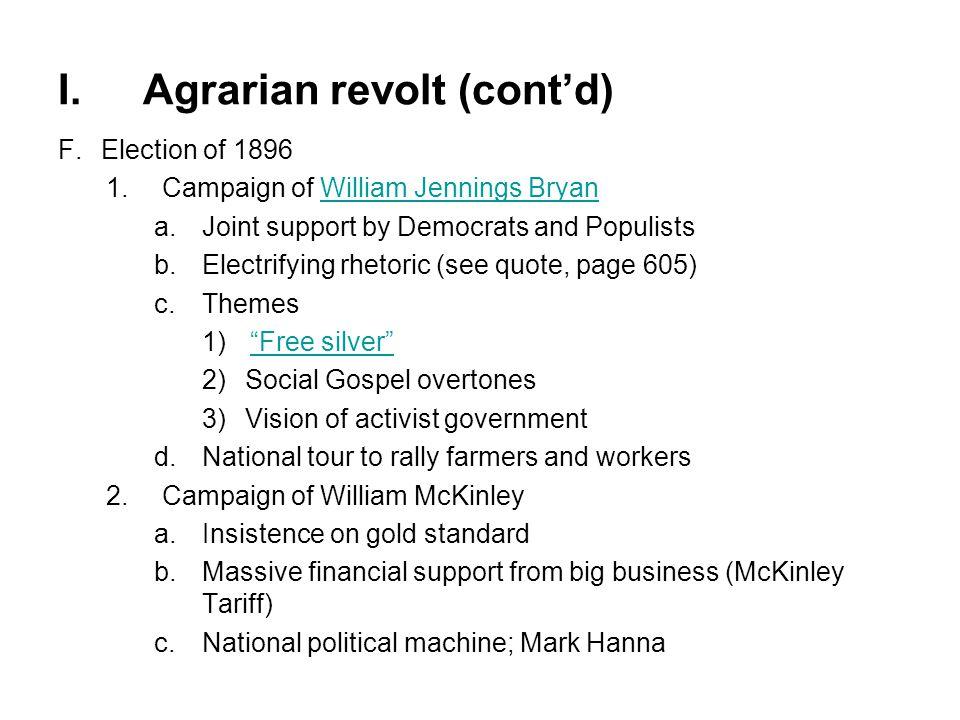 I. Agrarian revolt (cont'd)