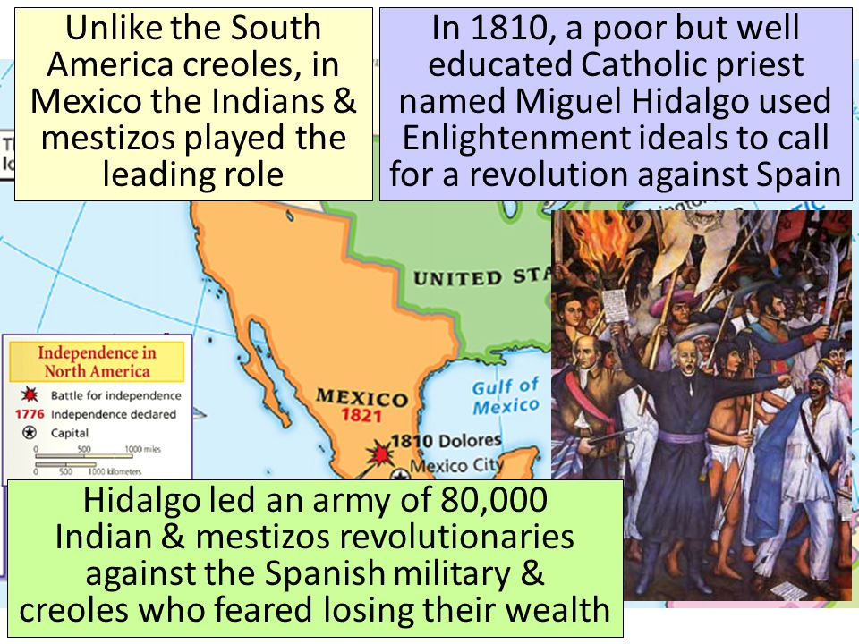 Unlike the South America creoles, in Mexico the Indians & mestizos played the leading role