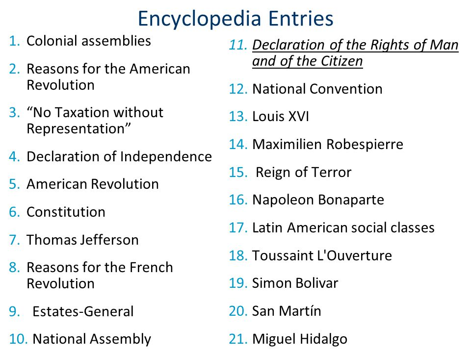 Encyclopedia Entries Colonial assemblies