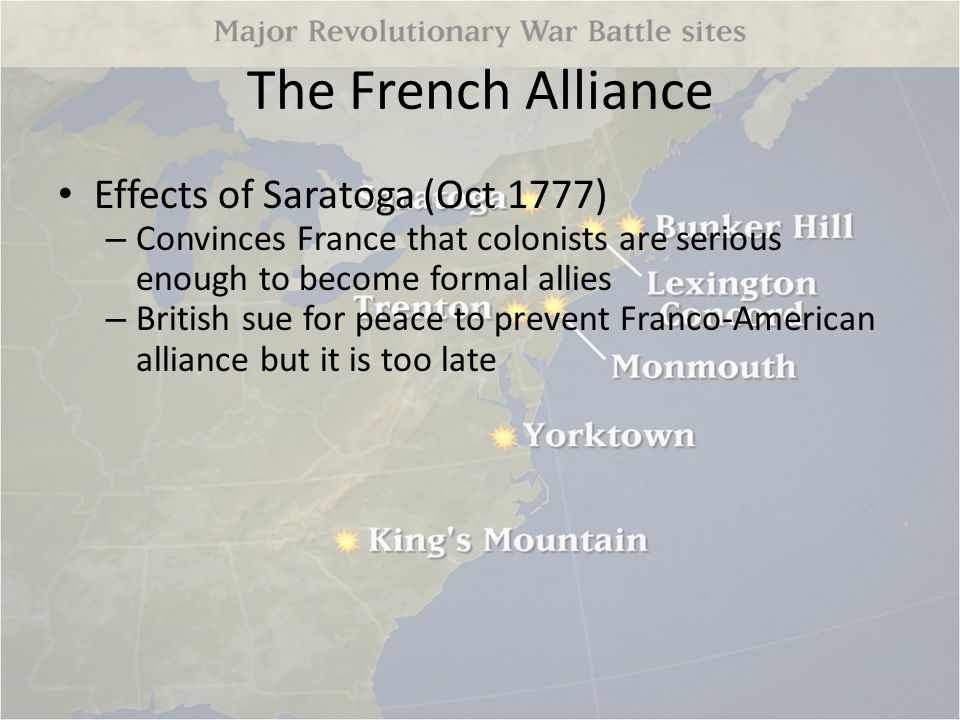 The French Alliance Effects of Saratoga (Oct 1777)