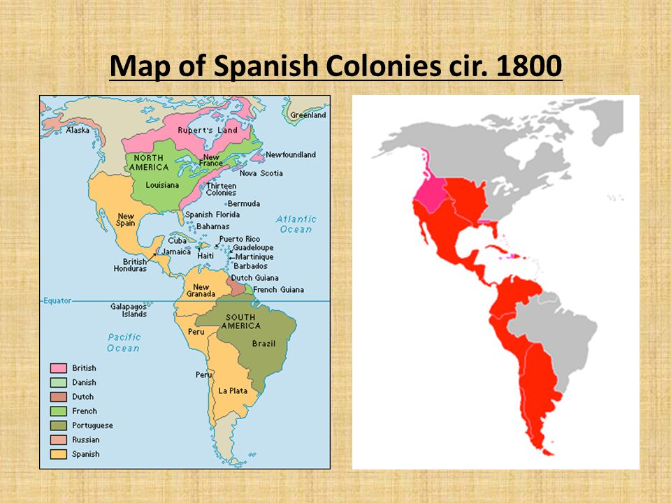 Map of Spanish Colonies cir. 1800
