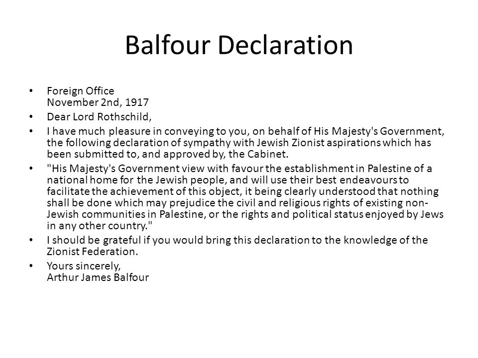Balfour Declaration Foreign Office November 2nd, 1917