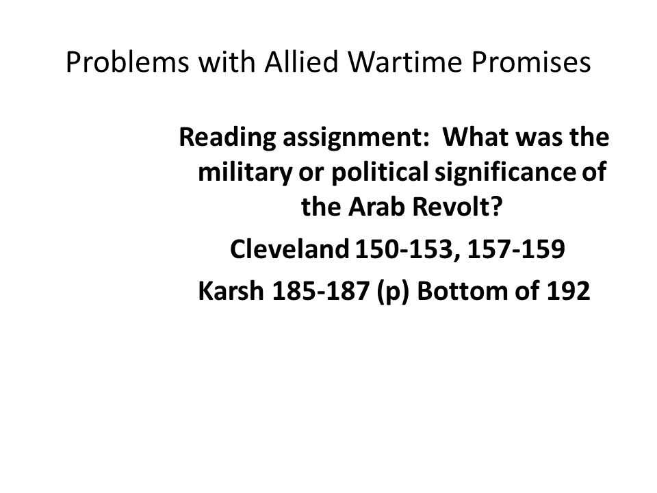 Problems with Allied Wartime Promises
