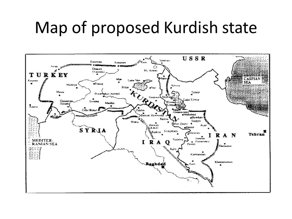 Map of proposed Kurdish state