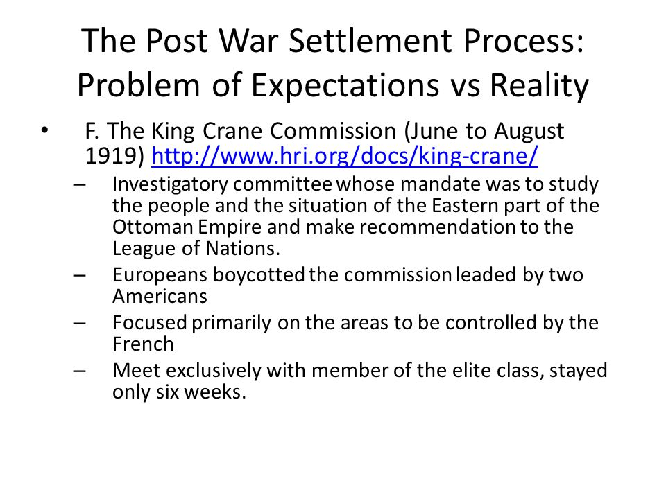 The Post War Settlement Process: Problem of Expectations vs Reality