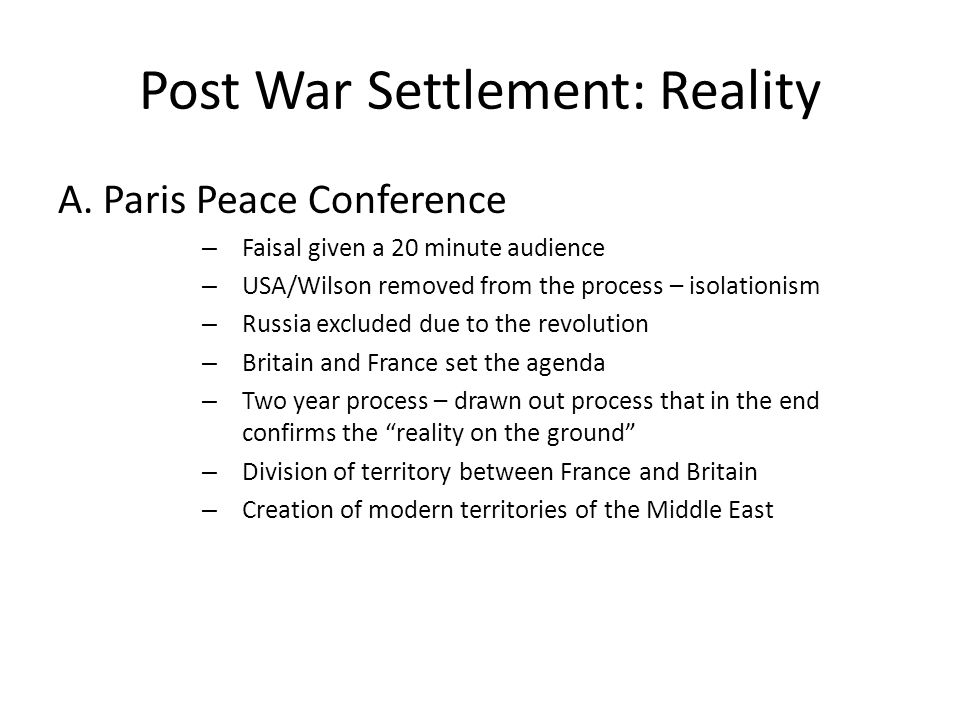 Post War Settlement: Reality