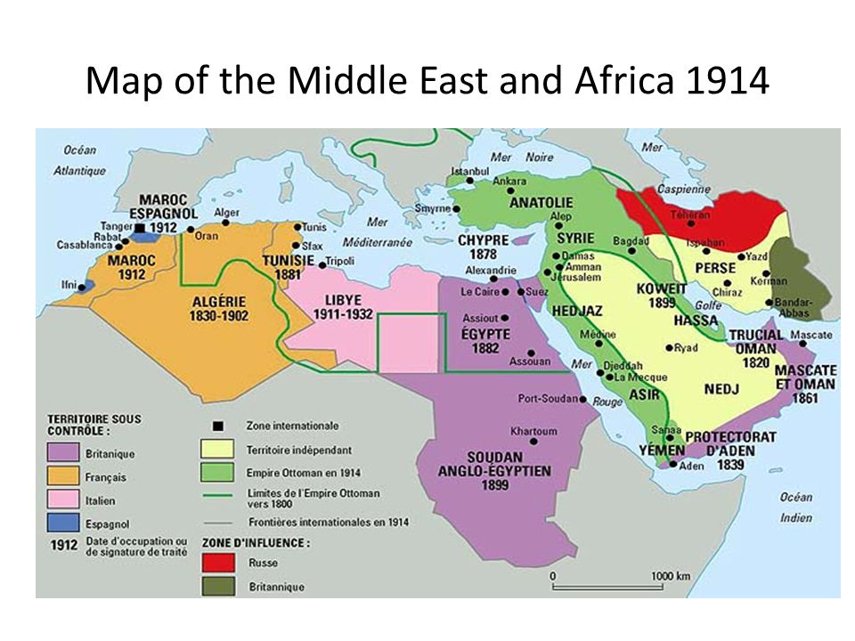 Map of the Middle East and Africa 1914