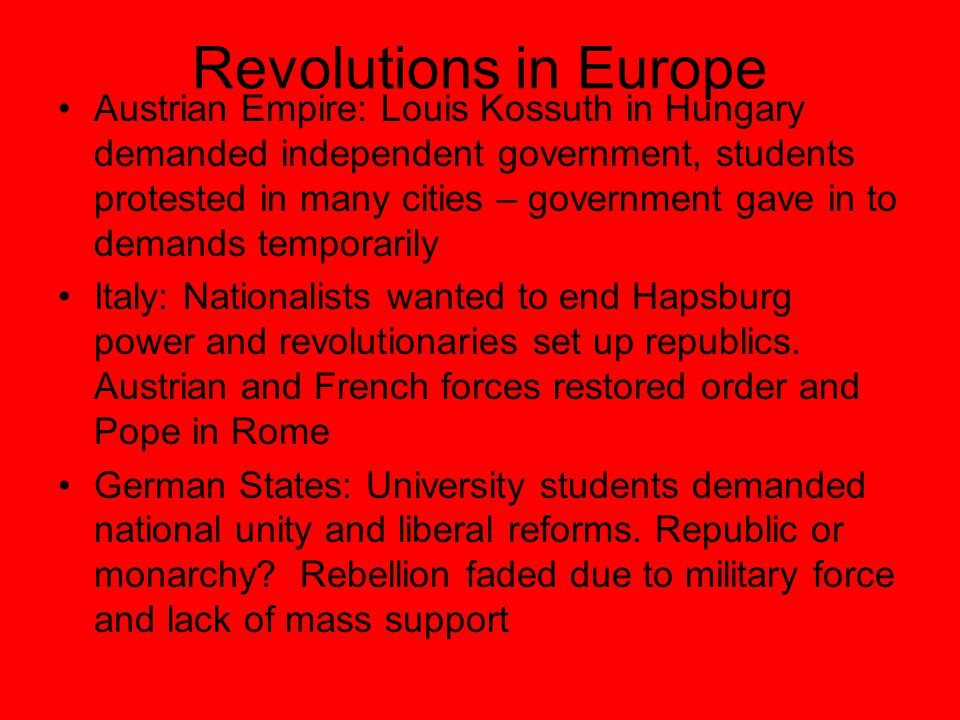 Revolutions in Europe