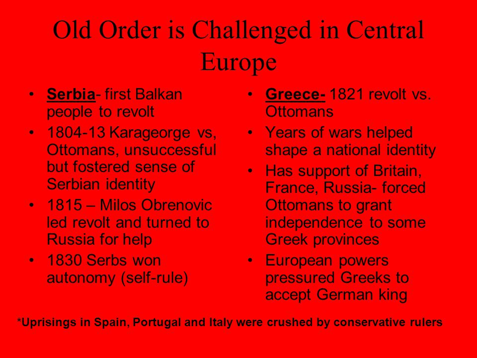 Old Order is Challenged in Central Europe