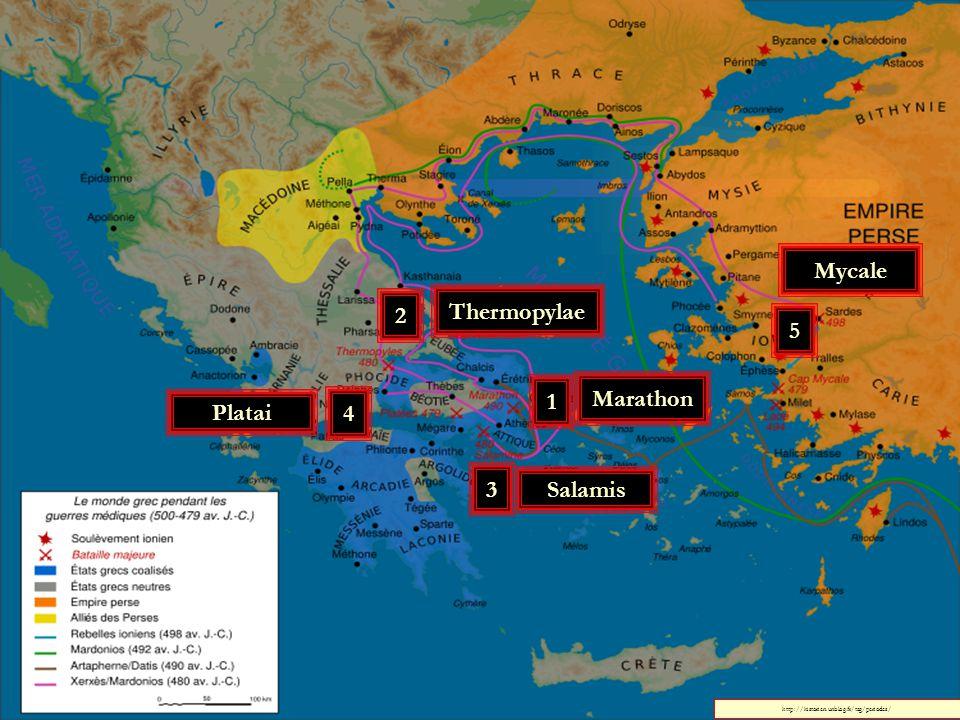 Mycale 2 Thermopylae 5 1 Marathon Platai 4 3 Salamis