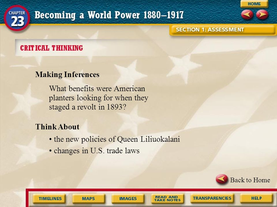• the new policies of Queen Liliuokalani • changes in U.S. trade laws