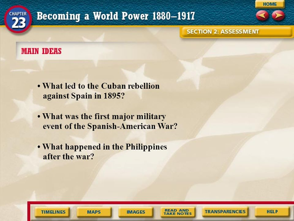 • What led to the Cuban rebellion against Spain in 1895