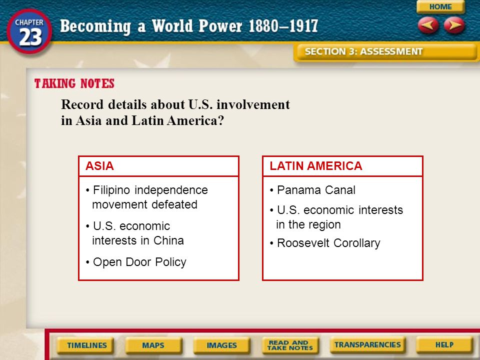Record details about U.S. involvement in Asia and Latin America