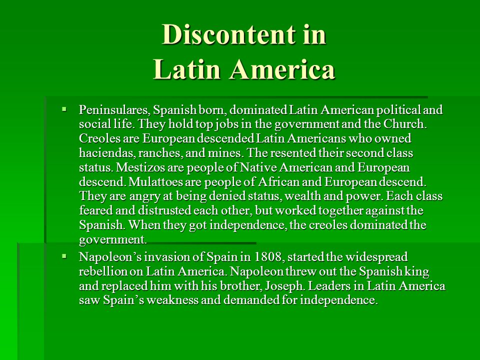 Discontent in Latin America