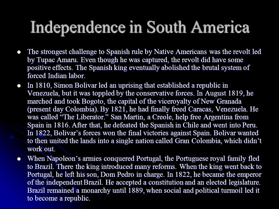 Independence in South America