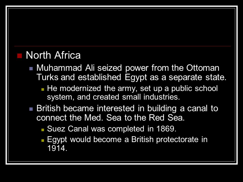 North Africa Muhammad Ali seized power from the Ottoman Turks and established Egypt as a separate state.