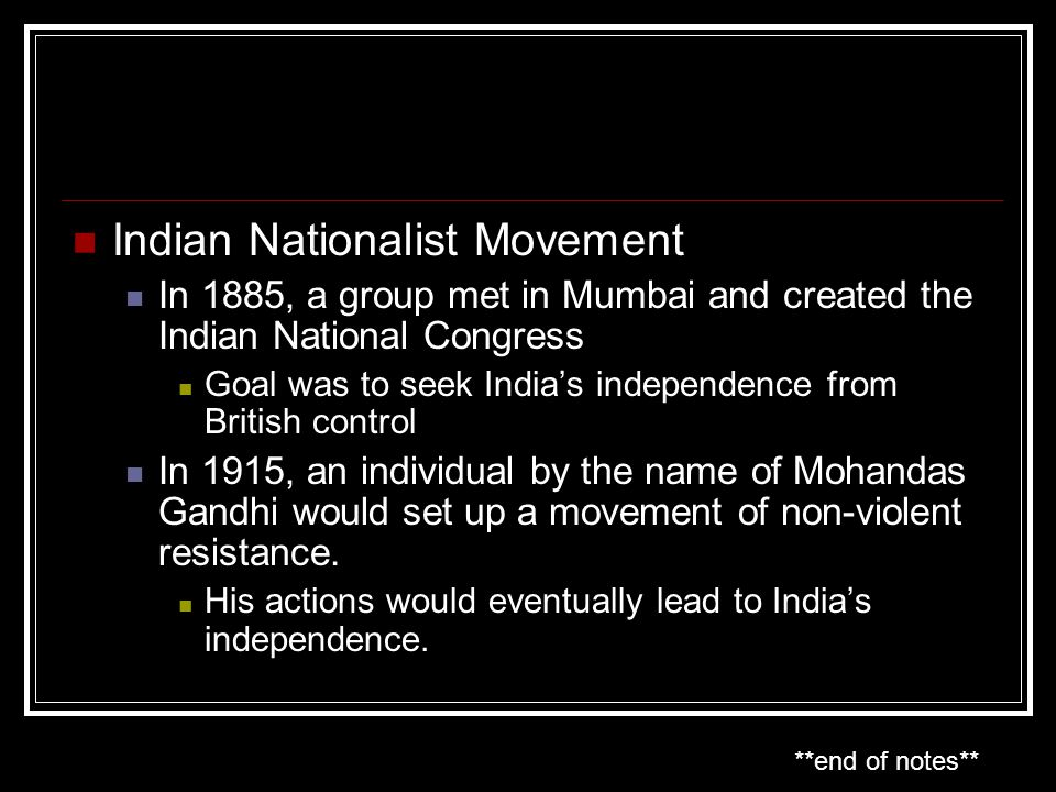 Indian Nationalist Movement