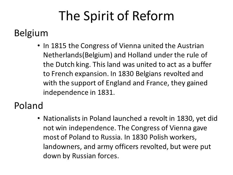 The Spirit of Reform Belgium Poland