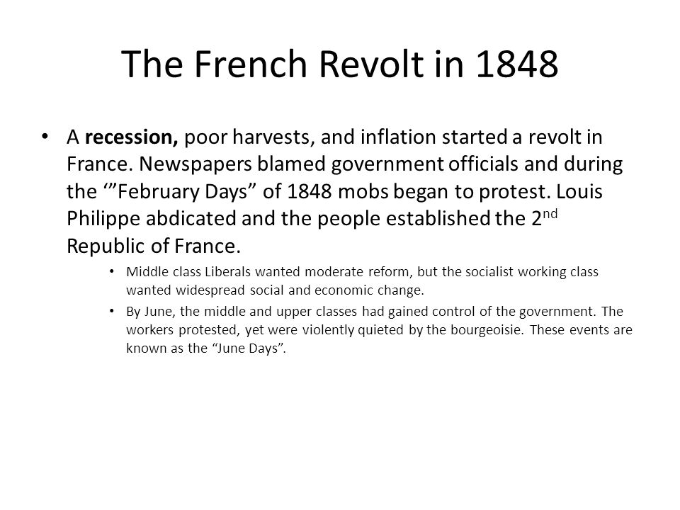 The French Revolt in 1848