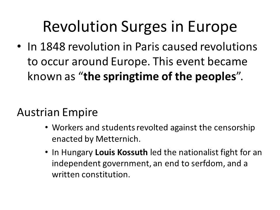 Revolution Surges in Europe