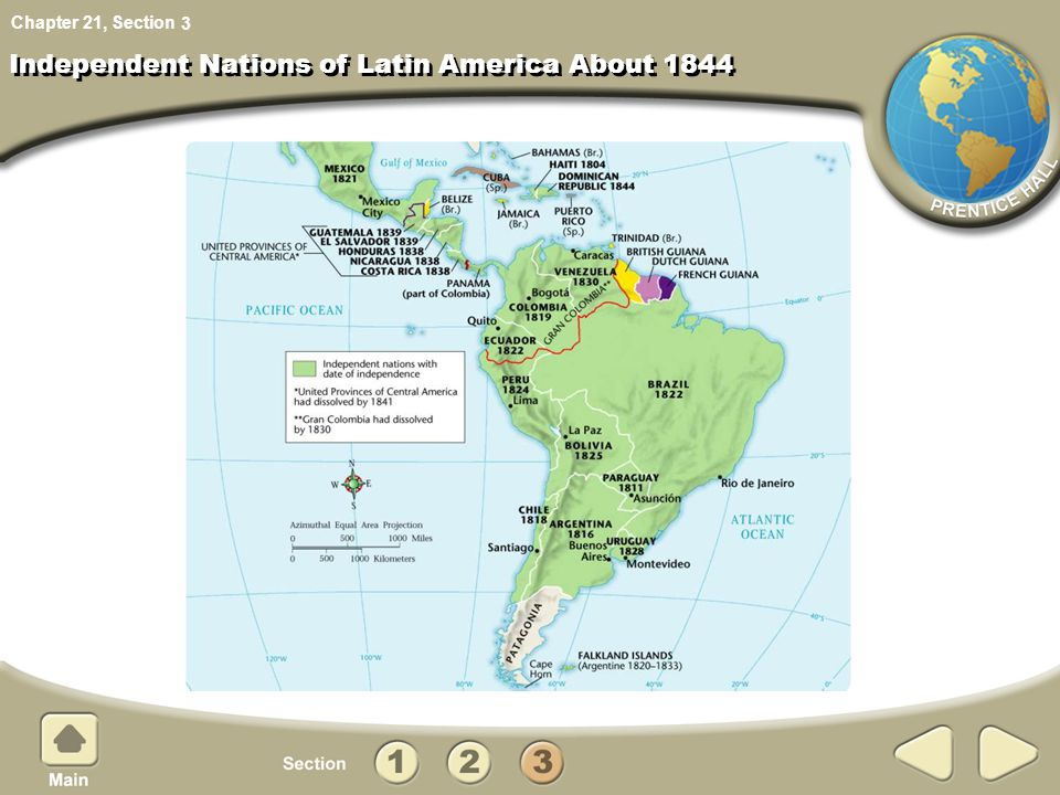 Independent Nations of Latin America About 1844