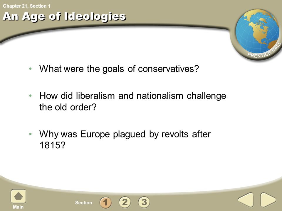 An Age of Ideologies What were the goals of conservatives